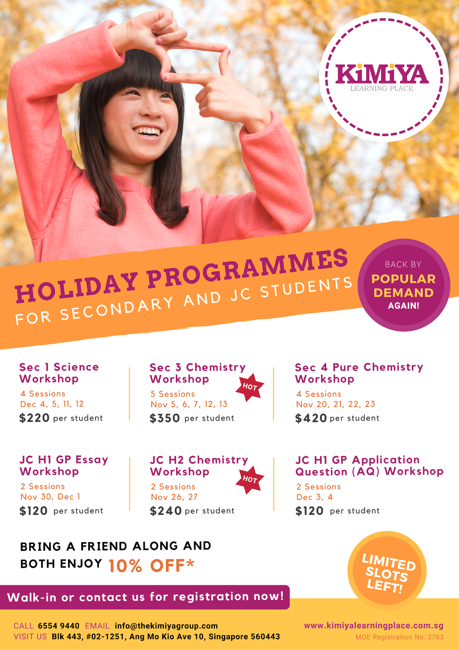 2018 Year End Holiday Programmes For Secondary and JC Students